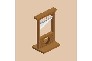 Guillotine isometric vector illustration