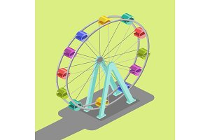 Ferris wheel isometric vector illustration