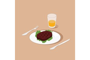Steak on dish isometric vector illustration