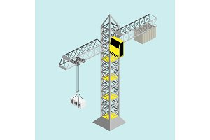 Construction crane isometric vector