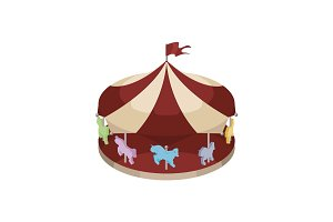 Children carousel isometric vector illustration