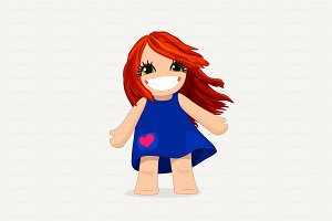 ♥ vector cute girl graphic