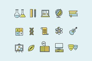 15 School Subject Icons