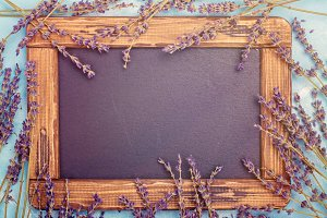 Lavender flowers and black board