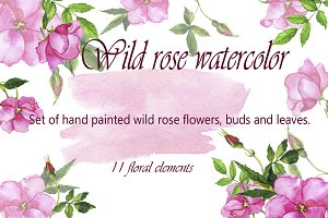 Watercolor wild roses