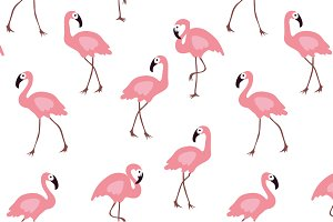 Pink Flamingo Patterns and Stickers