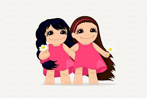 ♥ vector cute girls graphic