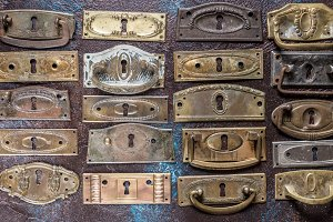 Lot of antique key hole escutcheons