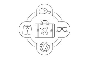 Tourist's suitcase contents linear icons set