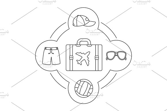 Tourist's suitcase contents linear icons set in Graphics