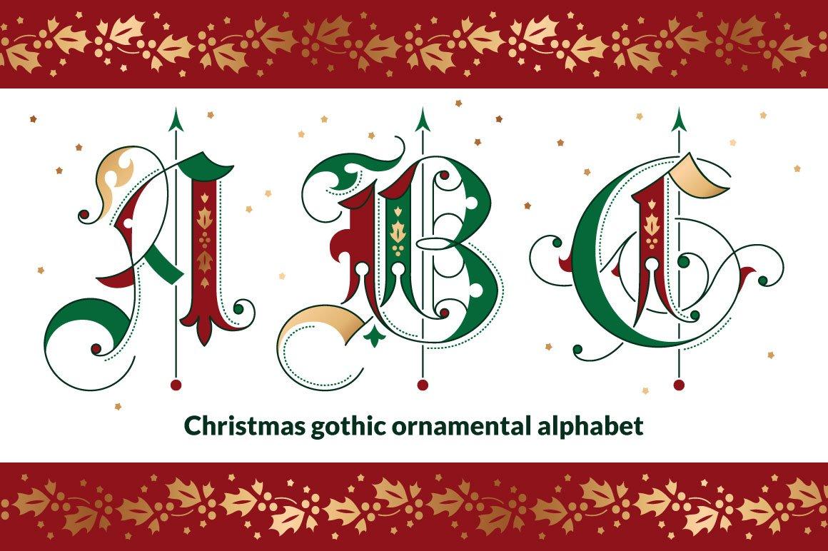 Christmas gothic ornamental alphabet ~ Blackletter Fonts ~ Creative ...