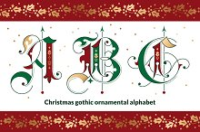 Christmas gothic ornamental alphabet