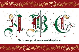 Christmas gothic ornamental alphabet