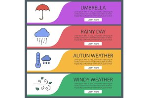 Autumn weather web banner templates set