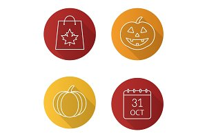 Halloween flat linear long shadow icons set