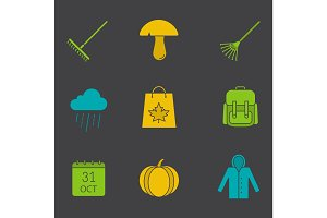 Autumn season glyph color icon set