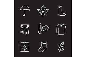Autumn chalk icons set