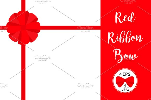 Red Ribbon Gift Bow Template Set