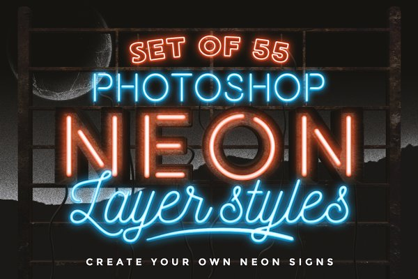 Photoshop Layer Styles - Neon layer styles for Photoshop