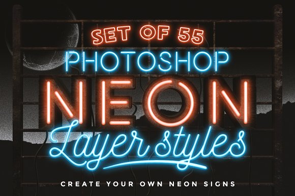 neon layer styles for photoshop layer styles creative market