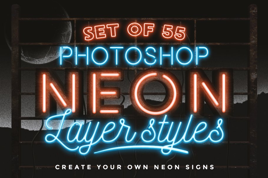 Neon layer styles for Photoshop ~ Photoshop Add-Ons ~ Creative Market