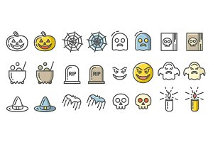 Halloween icons set. Linear signs collection.