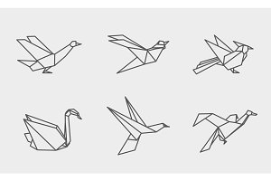 Origami birds linear icons.