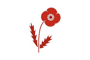 Poppy flower glyph color icon
