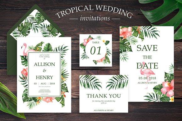 tropical wedding invitation suite invitation templates creative market