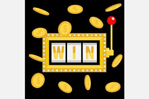 Big win text. Slot machine. Coin set