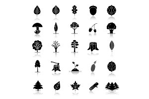 Tree types drop shadow black glyph icons set