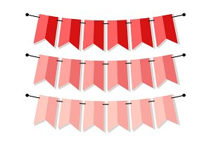 Bright banner as bunting flags in flat style