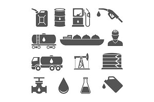 Oil industry black icons