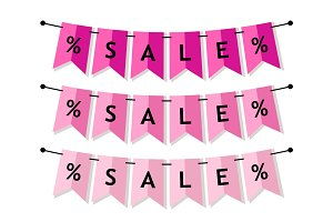 Bright Sale banner as bunting flags in flat style
