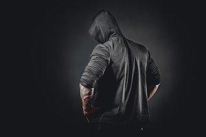 Muscular male bodybuilder posing