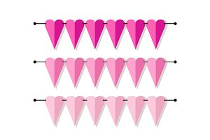 Bright heart shaped banner as bunting flags in flat style