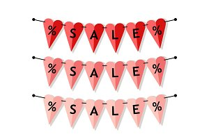Bright heart shaped Sale banner as bunting flags in flat style