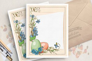 Hand drawn easter greeting card