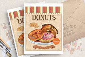 Vector poster with tasty donut