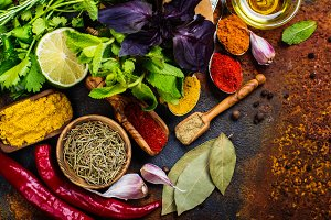 Selection of herbs and spices
