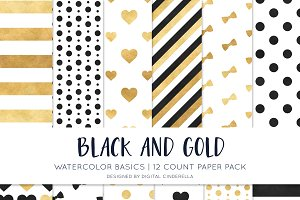 Black and Gold Watercolor Paper Pack