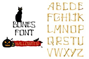 Bones Font.Vector Skeleton Letters.