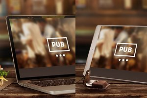 Mock-Up Laptop & Tablet (Pub style)
