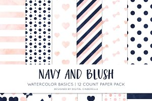 Navy and Blush Watercolor Paper Pack