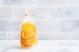 Sunny orange slices in a cellophane bag