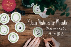 Nelson Watercolor Wreath Numerals