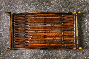 Original antique bamboo tray