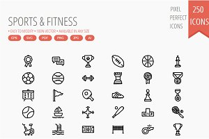 250 Sports and Fitness Hand Drawn