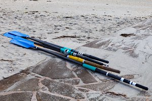 Several oars on the sand