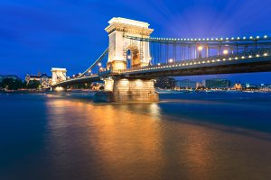 The Famous Szechenyi Chain Bridge in Budapest Hungary